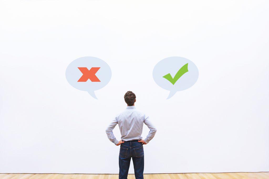 pensamentos certos ou errados, conceito de pensamento positivo